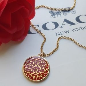Coach Medallion Charm Pendant w Gold Pltd Necklace